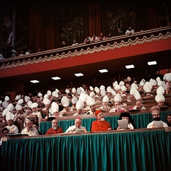 Bishops, including Eastern Catholic ones as seen in their distinctive robes, assisting at the Second Vatican Council