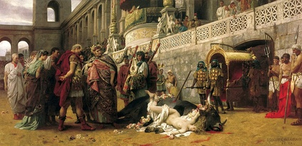A Christian Dirce, by Henryk Siemiradzki. A Christian woman is martyred under Nero in this re-enactment of the myth of Dirce (painting by Henryk Siemiradzki, 1897, National Museum, Warsaw).