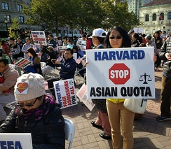 A protest in Boston's Copley Square on October 14, 2018 to support the lawsuit from Students for Fair Admissions against Harvard