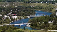 The river flows through Bowness, Calgary.