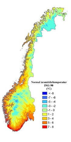 Map of Norway showing the normal temperature (annual average). Normal period 1961-1990.