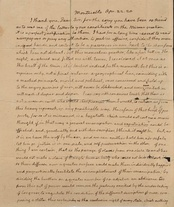 This is the first page of a two-page letter written to Holmes by Thomas Jefferson on April 22, 1820.