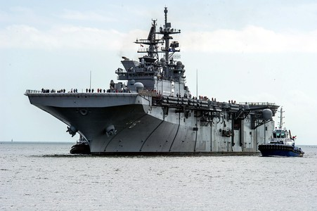 The USS America Amphibious assault ship, launched in 2012.
