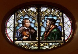 Glass window in the town church of Wiesloch (Stadtkirche Wiesloch) with Martin Luther and John Calvin commemorating the 1821 union of Lutheran and Reformed churches in the Grand Duchy of Baden.