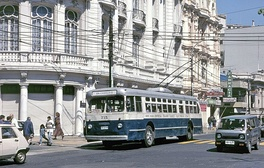 One of the historic trolleybuses that are still in daily service in 2019
