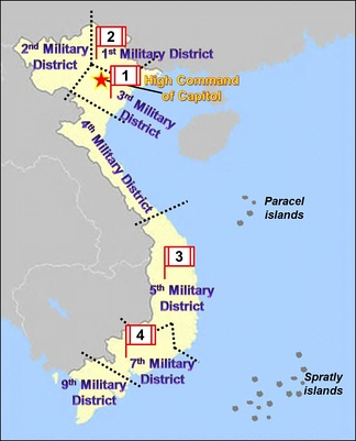 Vietnam Map with eight Military Districts and four Corps