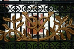 The VOC (Verenigde Oostindische Compagnie) logo of Dutch East India Company on the gates of Wolvendaal Church