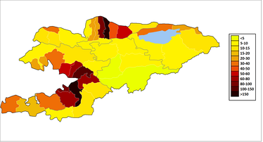 Population density of Kyrgyzstan, 2015 [66]