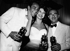 Gassman, Giovanna Ralli and Alberto Lattuada awarded at the 1957 Grolla d'oro.