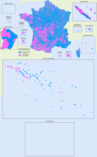 Results of the second round: the candidate with the majority of votes in each of the 36,784 communes of France. Nicolas Sarkozy: blue; Ségolène Royal: pink. All territories are shown at the same geographic scale.