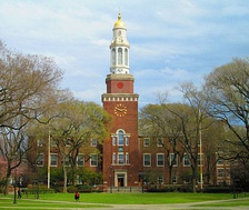"The Brooklyn College library, part of the original campus laid out by Randolph Evans, now known as ""East Quad"""