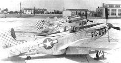 "20th Fighter Group P-51D Mustangs parked at Shaw Field, November 1946.  Serials identified are serials: 45-11665, 45-11689, and 44-84855.   Note the postwar ""buzz number"" on the fuselage along with the AAF Wartime fuselage marking and checkered wartime paint at the cowling and tail."