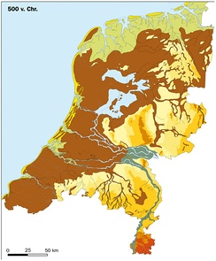 Peat covered area (brown) 2500 years BP in the Netherlands