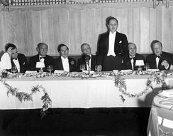 Zukor is honored with a dinner marking his 25 years in the film industry in 1936.  From left: Frank Lloyd, Joseph M. Schenck, George Jessel, Zukor, Darryl F. Zanuck, Louis B. Mayer, and Jesse L. Lasky.