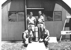 Alvarez (top right) on Tinian with Harold Agnew (top left), Lawrence H. Johnston (bottom left) and Bernard Waldman (bottom right)