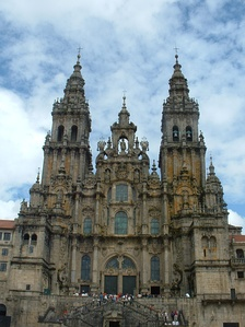 The towers of the Cathedral of Santiago de Compostela by Fernando de Casas Novoa (1680 (center tower) and 1738–50)