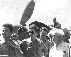"David Ben-Gurion visits 101 Squadron, the ""First Fighter Squadron""."