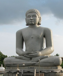 "Statue of Chandraprabha (means""as charming as moon"")-8th Tirthankara in Jainism with the symbol of crescent moon below it."