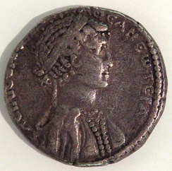 Coin of Cleopatra VII, with her image[23]