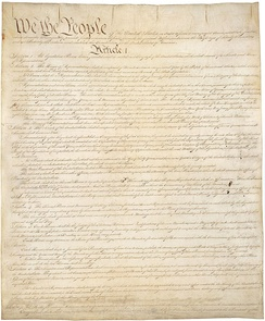 Page one of the original copyof the U.S. Constitution