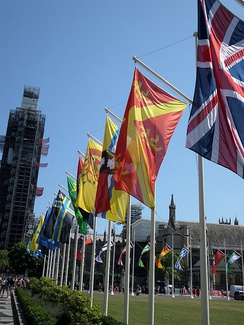 County flags flying in Parliament Square, London