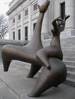 Charles Daudelin, La Cavalière, 1963, Sculpture installed in front of the pavilion Gérard Morisset of the Quebec National Museum of Fine Arts in Quebec City