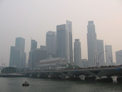 Singapore's Downtown Core on 7 October 2006, when it was affected by forest fires in Sumatra, Indonesia