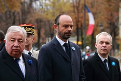 Philippe (centre) with Senate President Gérard Larcher (left) and then-National Assembly President François de Rugy (right) on Armistice Day, 11 November 2017