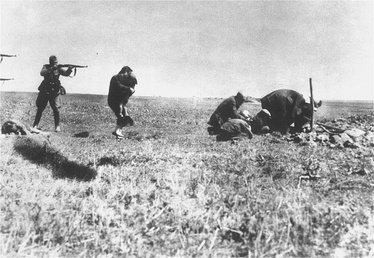 Executions of Jews by SS-led mobile killing units (Einsatzgruppen) near Ivanhorod, now Ukraine.