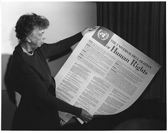 "Eleanor Roosevelt and the Universal Declaration of Human Rights (1948)—Article 19 states that ""Everyone has the right to freedom of opinion and expression; this right includes freedom to hold opinions without interference and to seek, receive and impart information and ideas through any media and regardless of frontiers"".[1]"