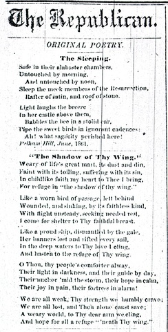 """Safe in their Alabaster Chambers –,"" titled ""The Sleeping,"" as it was published in the Springfield Republican in 1862."