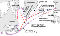 Different sailing routes to Greenland, Helluland (Baffin Island), Markland (Labrador), and Vinland (Newfoundland) by the characters of the Sagas of Icelanders.