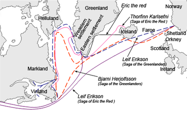 An interpretation of the sailing routes to Greenland, Vinland, Helluland and Markland travelled by different characters in the Icelandic Sagas, mainly Saga of Eric the Red and Saga of the Greenlanders.
