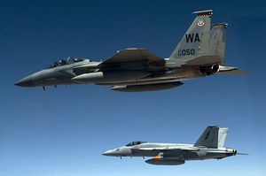 F-15D and FA-18E over Nevada Test Range 2012.jpg