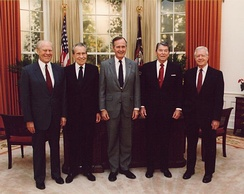 Presidents Gerald Ford, Richard Nixon, George H. W. Bush, Ronald Reagan and Jimmy Carter at the dedication of the Reagan Presidential Library
