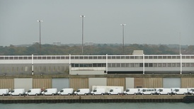 Ford Transit vans awaiting export from Southampton Docks