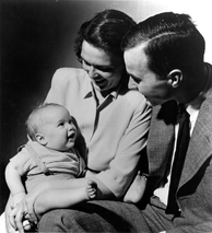 George W. Bush with his parents, Barbara and George H. W. Bush, c. 1947