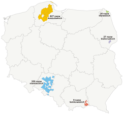 Communes in Poland in which additional minority names were introduced (as of 1 December 2009). In blue – German names in the Opole and Silesian Voivodeships (total of 238 German names in Silesia)
