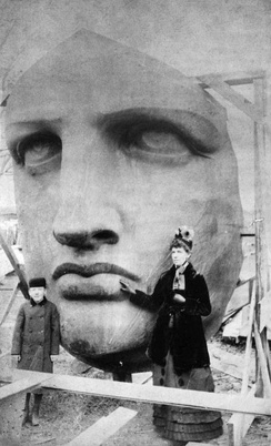 Unpacking of the face of the Statue of Liberty, which was delivered on June 17, 1885