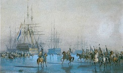 Capture of the Dutch fleet by the French hussars