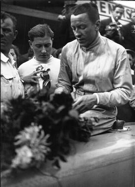 Jean-Pierre Wimille after winning the 1936 Grand Prix de Deauville