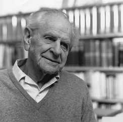 The Austrian-British philosopher of science Karl Popper (1902–1994) in 1990. He is best known for his work on empirical falsification.