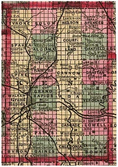 Figure 3. Kent County, Michigan in 1885 as a PLSS example, showing 24 named townships and sectional subdivisions.
