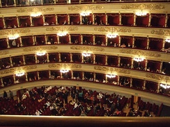 The world-renowned La Scala opera house in Milan, Italy