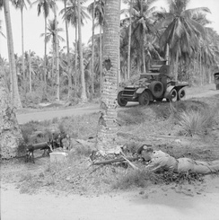 Men of the 2nd Argyll and Sutherland Highlanders training with a Lanchester six-wheeled armoured car in the Malayan jungle on 13 November 1941.