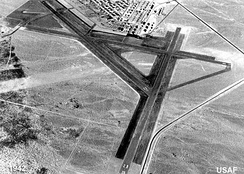 The Las Vegas Army Airfield had 3 runways in 1942, the year Tonopah Army Airfield opened in August (the Tonopah Bombing Range had been divided in 1941 into the Tonopah and Las Vegas General Ranges.)