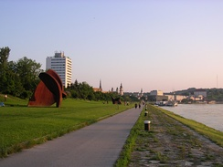 The Danube Bike Trail leading through the city Linz