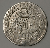 A 1568 Lithuanian coin of Sigismund II Augustus with horseman and the Columns of Gediminas