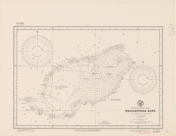 Old nautical chart by the Hydrographic Office, showing depths in fathoms
