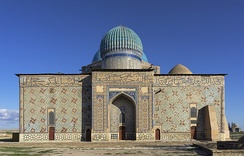 Mausoleum of Khoja Ahmed Yasawi in Hazrat-e Turkestan, Kazakhstan. Timurid architecture consisted of Persian art.